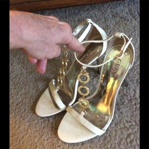 GUESS Gold & White High Heels